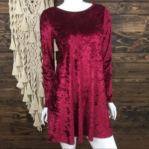 Bellamie | Crushed Velvet Long Sleeve Burgundy